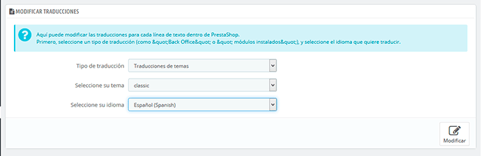 modificar texto traduccion plantilla prestashop 1.7
